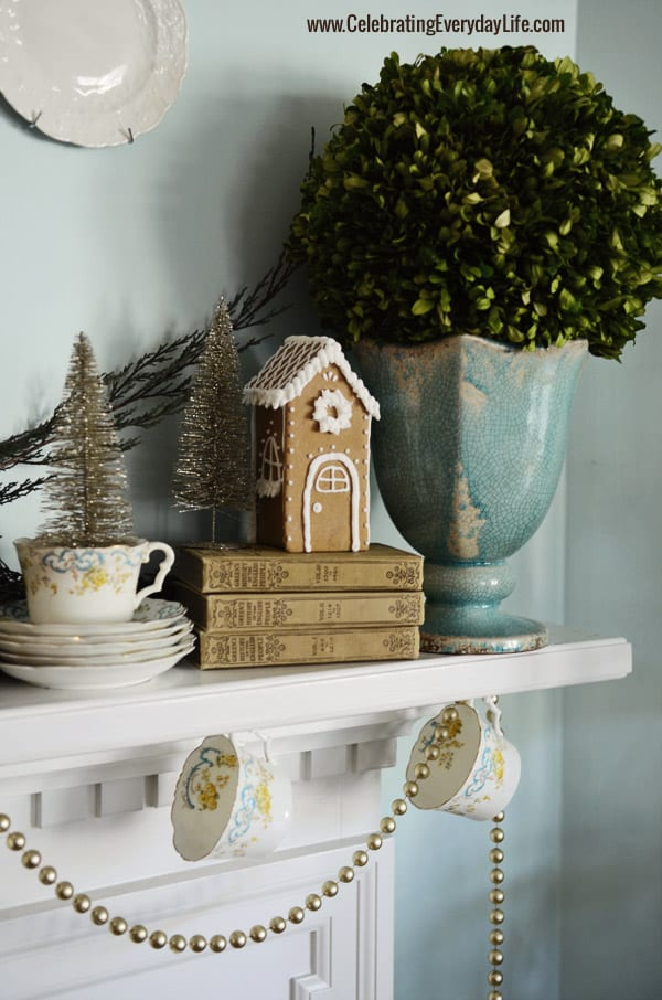 Small Gingerbread House, Boxwood Topiary, Christmas Mantel, Celebrating Everyday Life with Jennifer Carroll