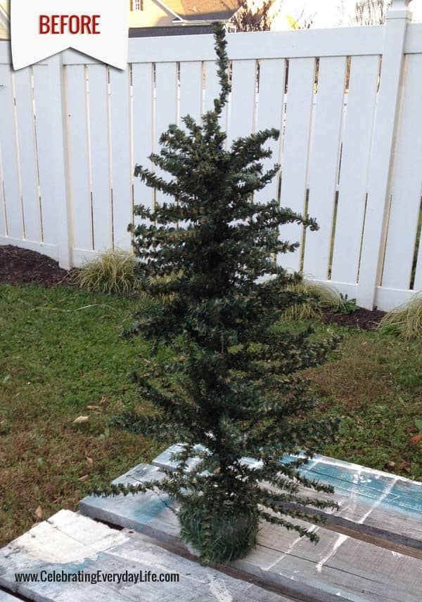 How to spray paint your own white christmas tree BEFORE, Celebrating Everyday Life with Jennifer Carroll