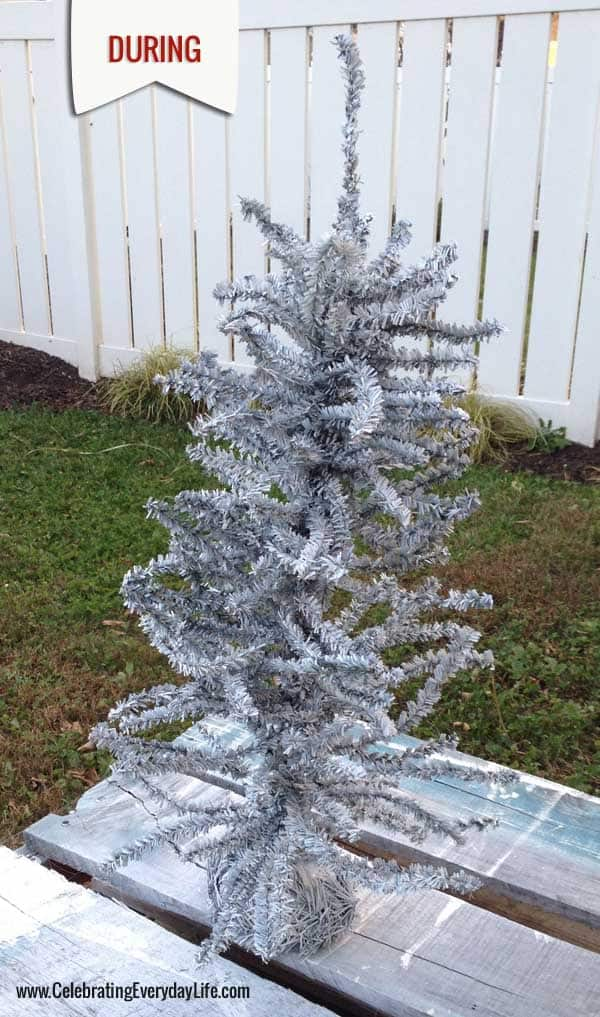 How to Spray Paint your own White Christmas Tree - Celebrating ...