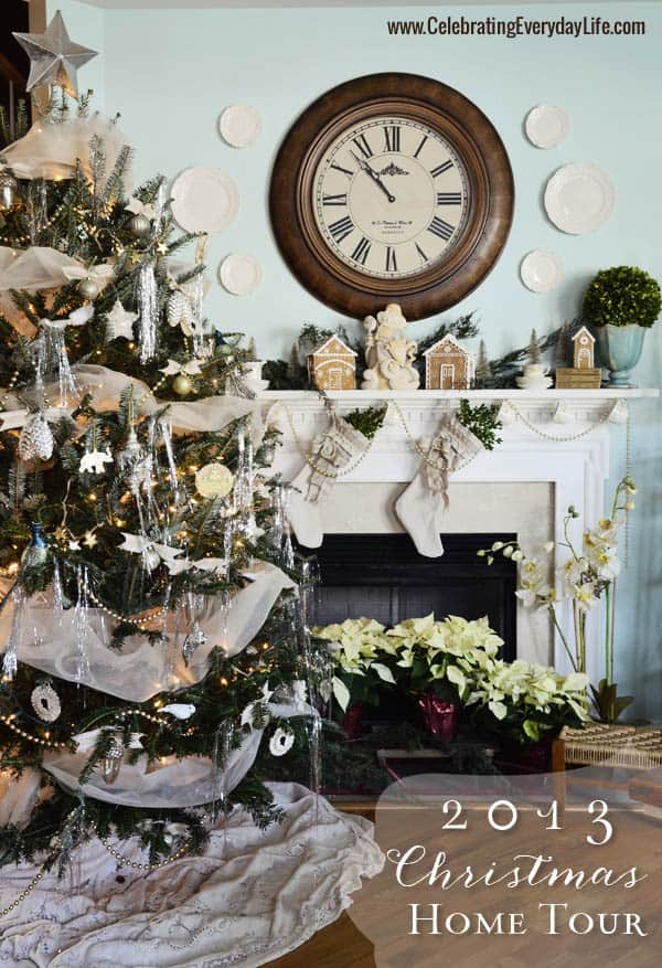 2013 Christmas Home Tour, Cream and gold tree, Celebrating Everyday Life with Jennifer Carroll