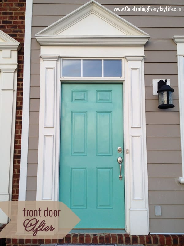 Painting my front door turquoise celebrating Gray front door meaning