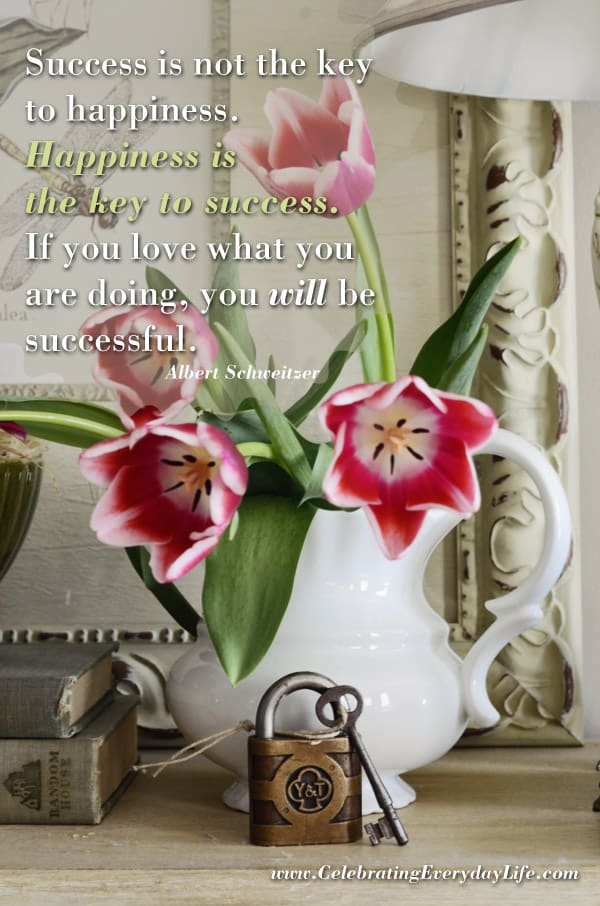 The Key to Success Quote, Happiness is the Key To Success Quote, Inpiring Quote, Encouraging Quote, Celebrating Everyday Life with Jennifer Carroll