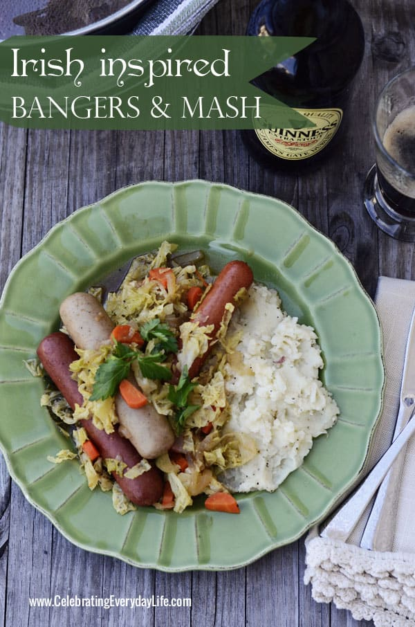 Irish Bangers and Mash recipe, Sausage and Mashed Potatoes recipe, St. Patrick's Day meal idea, St. Patrick's Day recipe, Irish recipe, Celebrating Everyday Life with Jennifer Carroll, www.CelebratingEverydayLife.com