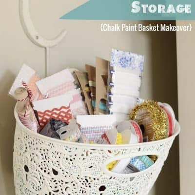 Chalk Paint Basket Makeover {Pretty Ribbon Storage}