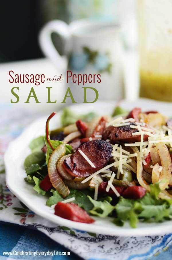 Sausage and Pepper Salad, Keilbasa Peppers and Onion Salad, Low Carb Recipe, Warm Salad Recipe, Celebrating Everyday Life with Jennifer Carroll