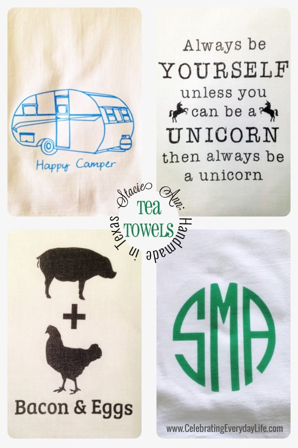 Whimsical Tea Towels from Stacie Ann on etsy