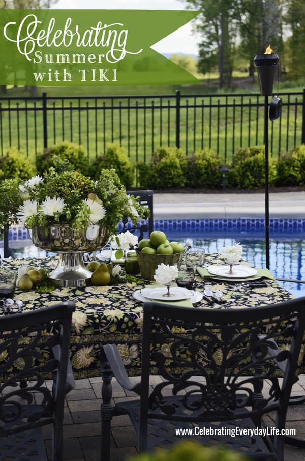 Celebrating Summer with TIKI Brand Torches, Apple Green & Black Party Inspiration, Outdoor Entertaining, Pool party Ideas, Elegant Summer party, Celebrating Everyday Life with Jennifer Carroll