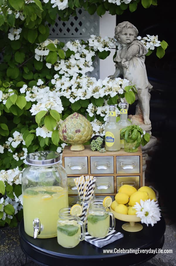 Lemonade Station, Celebrating Summer with TIKI Brand Torches, Apple Green & Black Party Inspiration, Outdoor Entertaining, Pool party Ideas, Elegant Summer party, Celebrating Everyday Life with Jennifer Carroll