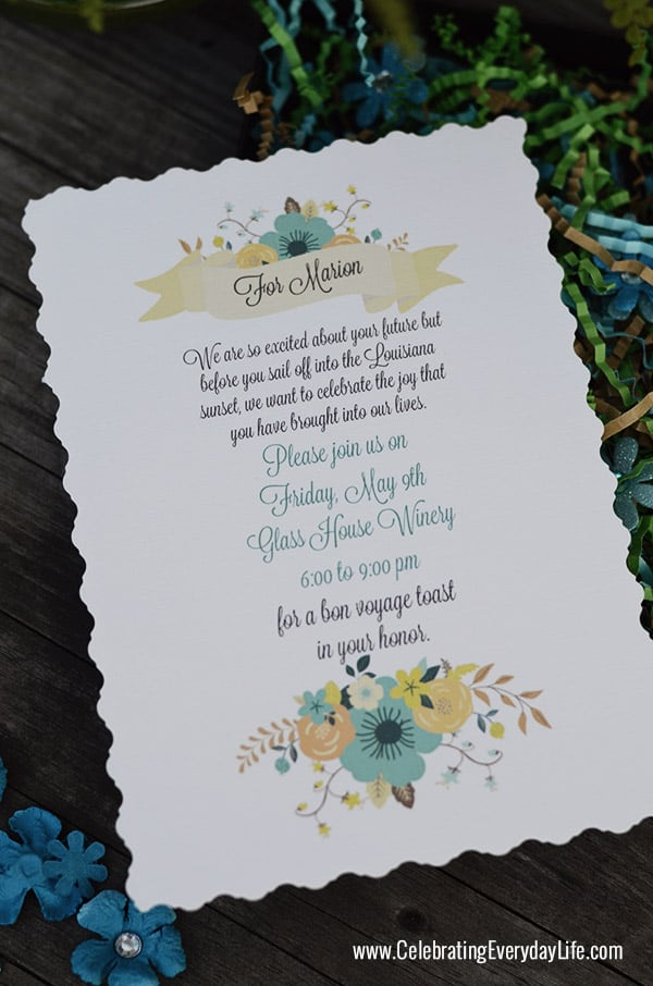 Bon Voyage Party Invitation, Styling a Custom Card, Transforming a Card into a Keepsake, Making a special Bon Voyage Card, Celebrating Everyday Life with Jennifer Carroll