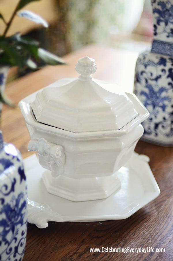 White Ironstone Tureen, Blue and White Vases with Pink Peonies, Blue and White vases on Dining Room Table, Blue and White Centerpiece, Celebrating Everyday Life with Jennifer Carroll