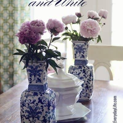 Touches of Blue & White on my Dining Room Table {Summer Home Decor} + Survey Winner