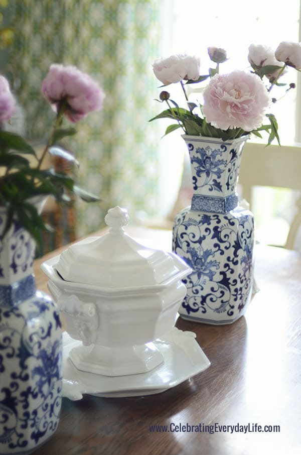 Blue and White Vases with Pink Peonies, Blue and White vases on Dining Room Table, Blue and White Centerpiece, Celebrating Everyday Life with Jennifer Carroll