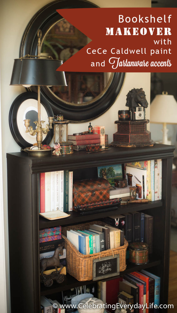 Bookshelf makeover with CC Caldwell paint and Tartanware accents, Tole lamp, Celebrating Everyday Life with Jennifer Carroll,