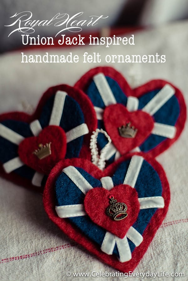 Royal Heart Union Jack inspired ornament, How to make your own ornaments, DIY felt ornament, DIY Christmas Ornament, Ornament template, British ornament, London ornament, Crown ornament, heart ornament, Celebrating Everyday Life with Jennifer Carroll