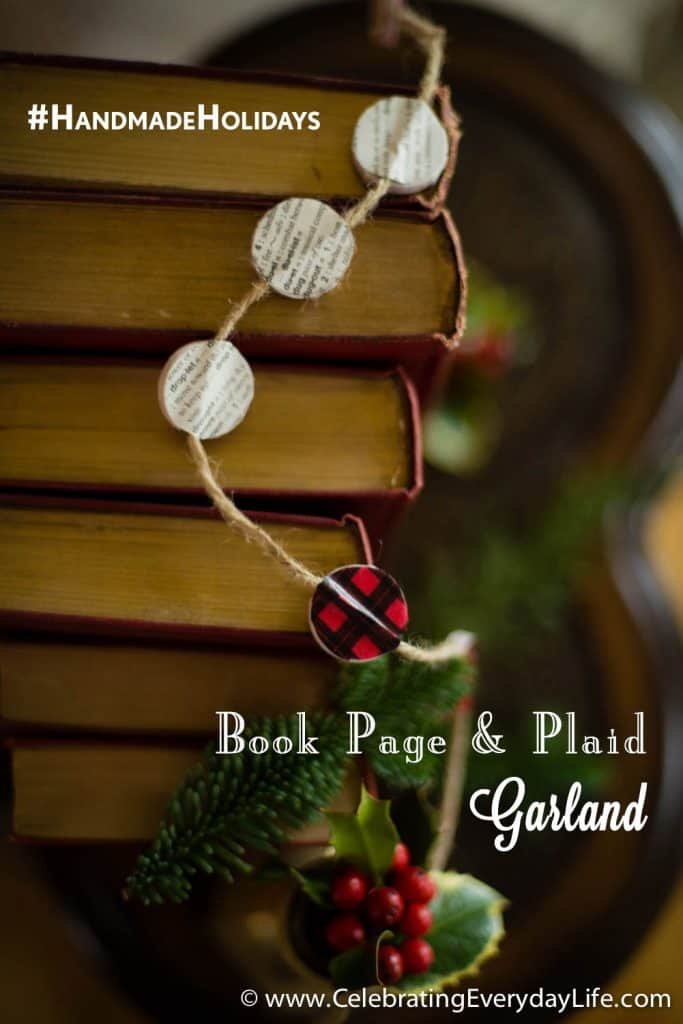 #HandmadeHolidays, Holiday Decor Hacks with STAPLES, DIY Christmas Decor, Handmade Holiday Decor, Celebrating Everyday Life with Jennifer Carroll, Plaid Washi Tape, Scotch® Expressions Washi Tape, Red Buffalo Plaid, DIY Christmas Garland, Book Page Garland