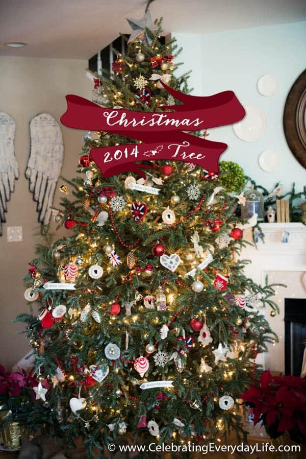 2014 Christmas Tree Decorations, Union Jack Inspired Christmas Tree, Red & White Christmas Ornaments, British Christmas Ornaments, Union Jack Christmas Ornaments, Celebrating Everyday Life with Jennifer Carroll