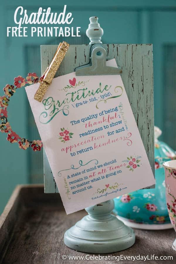 Gratitude Free Printable, Celebrating Everyday Life with Jennifer Carroll