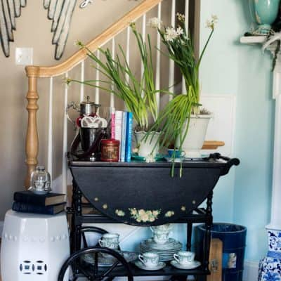 A Romantic Tea Cart and Paperwhites gone wild!