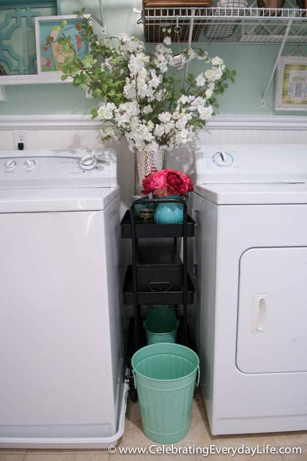 BEFORE and AFTER Laundry Room, Laundry Room Makeover, Austin cart from World Market, French inspired Laundry Room, Garden Laundry Room, Celebrating Everyday Life with Jennifer Carroll