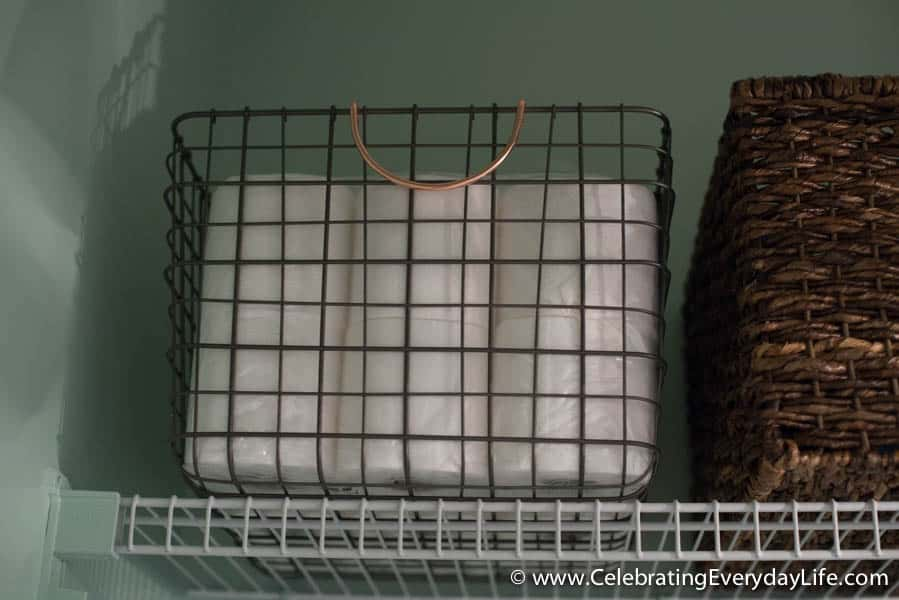BEFORE and AFTER Laundry Room, Laundry Room Makeover, Wire milk crate from Target, French inspired Laundry Room, Garden Laundry Room, Celebrating Everyday Life with Jennifer Carroll