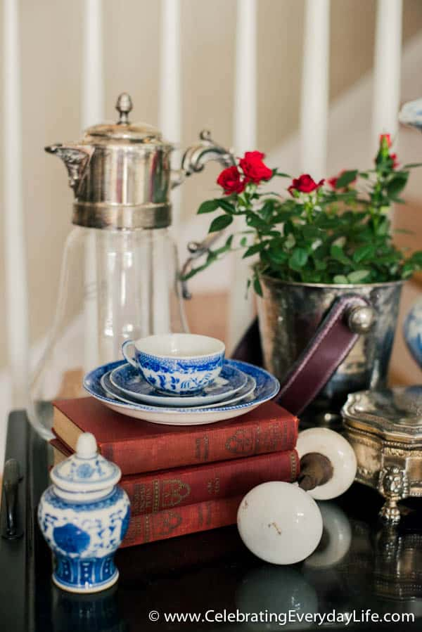 A Beginners Guide to Decorating with Blue and White Part One, How to Decorate with Blue and White, Celebrating Everyday Life with Jennifer Carroll, How to style a side table