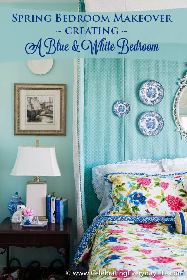 Spring bedroom makeover creating a blue white bedroom celebrating everyday life with - Spring bedding makeover ideas ...