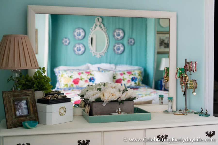A Spring Bedroom Update, Creating a blue & white bedroom, blue & white bedroom, turquoise bedroom, Waverly bedroom, How to decorate your master bedroom, Celebrating Everyday life with Jennifer Carroll