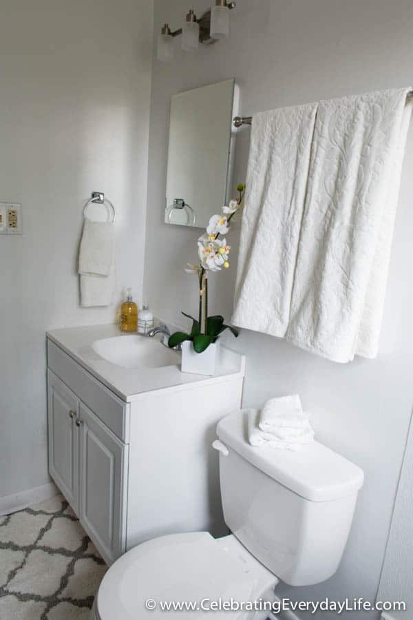 How to stage a bathroom or two celebrating everyday for Bathroom staging ideas