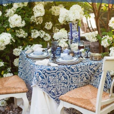 A Blue & White Garden Tablescape