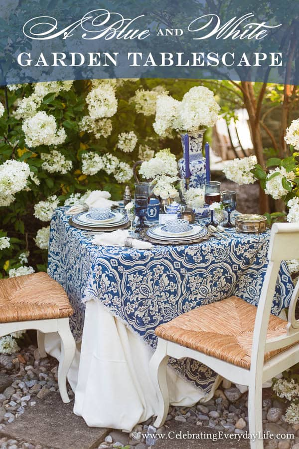 Blue and White Tablescape, Blue and White Garden Tablescape, Blue & White Table ideas, Garden Party, Blue and White Hydrangea Table, White Hydrangea, Celebrating Everyday Life with Jennifer Carroll