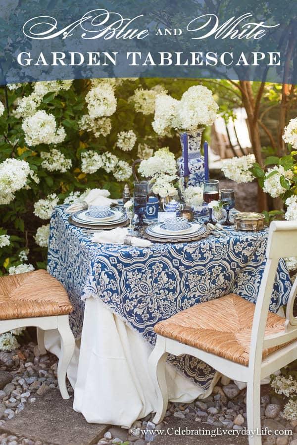 A Blue & White Garden Tablescape