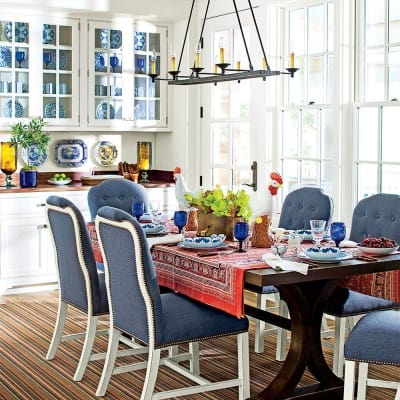 Dining Room of 2015 Southern Living Idea House, Interior Design by Bunny Williams, Celebrating Everyday Life with Jennifer Carroll