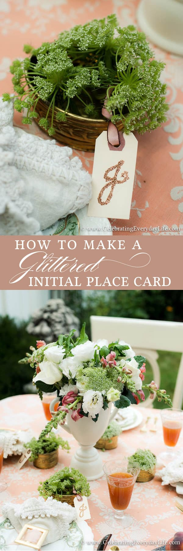 How To Make a Glittered Letter Place Card, How to make a glittered initial place card, Place Card ideas, placecard ideas, unusual placecard idea, chic placecard, easy placecard idea, ribbon placecard, shipping tag placecard, glitter placecard, Celebrating Everyday Life with Jennifer Carroll