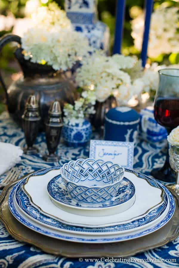 A Blue Amp White Garden Tablescape Celebrating Everyday