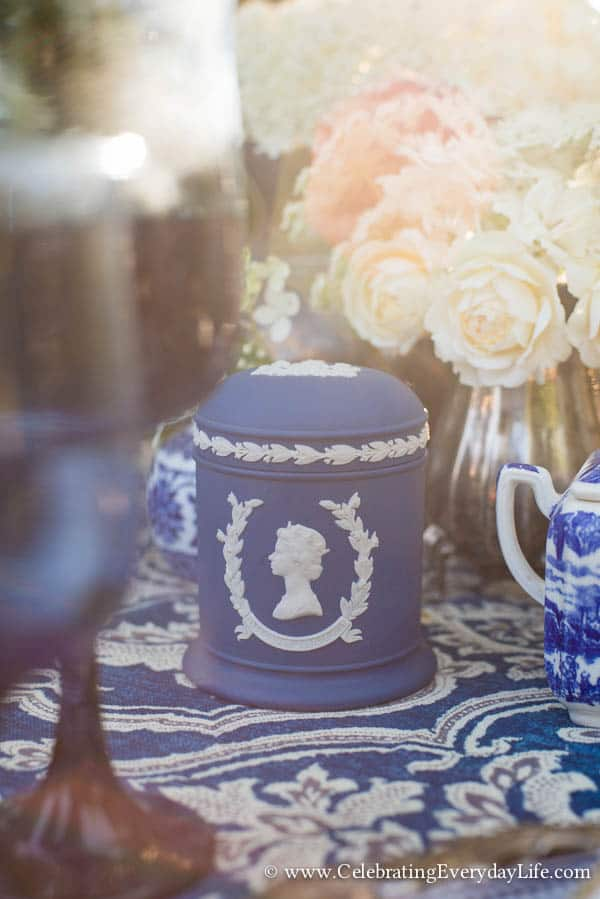 1977 QUEEN ELIZABETH SILVER JUBILEE WEDGWOOD JASPERWARE LIDDED JAR, Blue and White Tablescape, Blue and White Garden Tablescape, Blue & White Table ideas, Garden Party, Blue and White Hydrangea Table, White Hydrangea, Celebrating Everyday Life with Jennifer Carroll