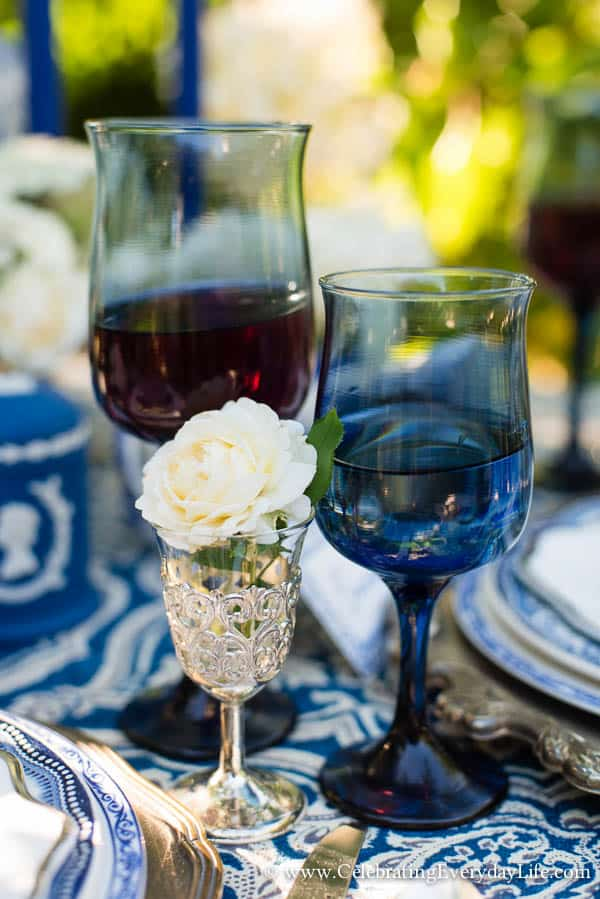 Blue tulip wine glasses, Blue and White Tablescape, Blue and White Garden Tablescape, Blue & White Table ideas, Garden Party, Blue and White Hydrangea Table, White Hydrangea, Celebrating Everyday Life with Jennifer Carroll