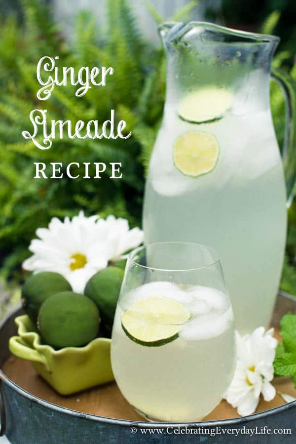 Ginger Limeade Recipe, Summer Drink Recipe, Limeade Recipe, Picnic Drink Recipe, Celebrating Everyday Life with Jennifer Carroll