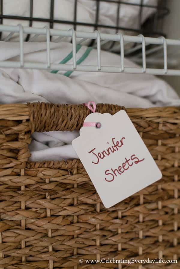How to Organize a Linen Closet, Linen Closet Before & After, Organizing Before & After, Linen Closet Organization, Tips for Organizing Linen Closet, Storage Baskets, Hanging Linens, Storing Linens, Celebrating Everyday Life with Jennifer Carroll