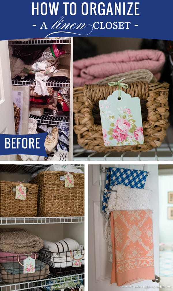 How to Organize a Linen Closet, Linen Closet Organization, Tips for Organizing Linen Closet, Storage Baskets, Hanging Linens, Storing Linens, Celebrating Everyday Life with Jennifer Carroll