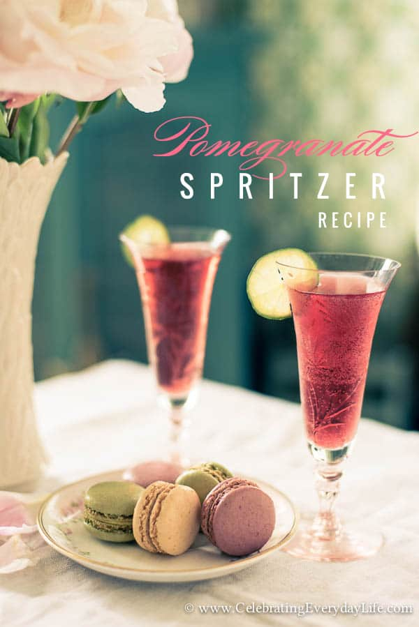 Pomegranate Spritzer Recipe, Simple Mocktail Recipe, Simple Cocktail Recipe, Simple Drink Recipe, Summer Entertaining, Easy Entertaining, Pink Drink Recipe, Pink Drink Idea, Lime Garnish, French Macaron, Pretty Pink Party, Celebrating Everyday Life with Jennifer Carroll