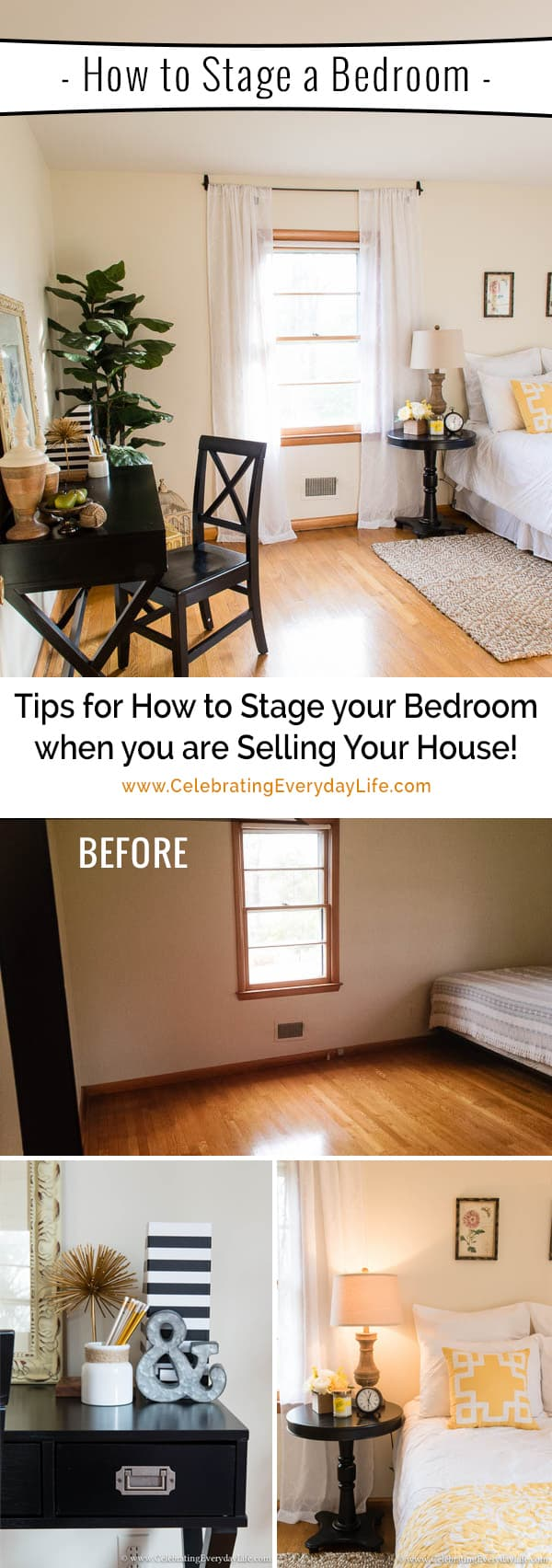 tips for how to stage a bedroom to sell! - celebrating everyday