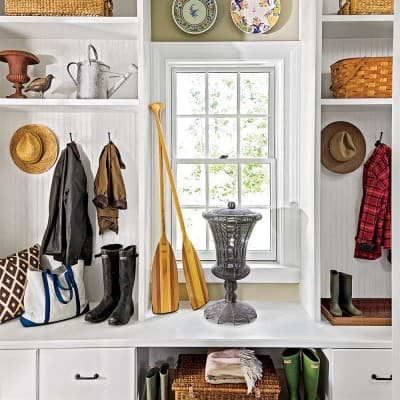 mudroom at the 2015 Southern Living Idea House, Interior Design by Bunny Williams, Celebrating Everyday Life with Jennifer Carroll