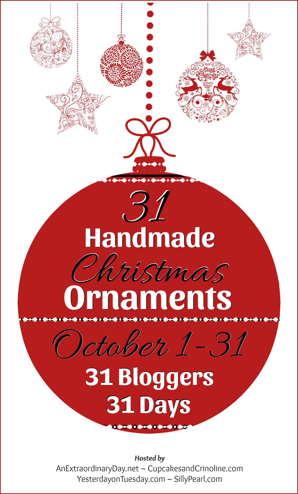31 Bloggers - 31 Days - 31 Handmade Christmas Ornaments - Blog Hop - AnExtraordinaryDay.net