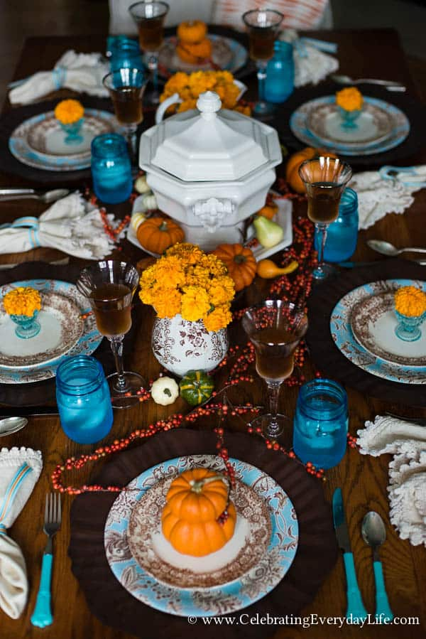 Touches Of Fall Home Decor Aqua Brown And Orange Table Autumn