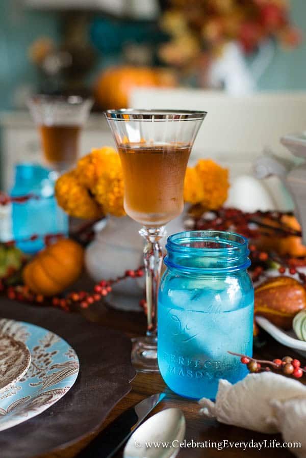 Touches of Fall Home Decor, Aqua Brown and Orange Table, Autumn Table, Fall Table, Pumpkin Table, Fall Decor, Fall Decor Ideas, Autumn Decorating Ideas, Fall Dining Room Decor, Celebrating Everyday Life with Jennifer Carroll