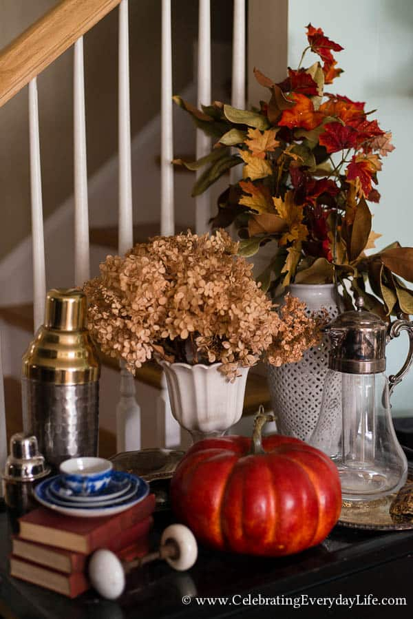 Fall Mantel Ideas, Touches of Fall Home Decor, Aqua Brown and Orange Table, Autumn Table, Fall Table, Pumpkin Table, Fall Decor, Fall Decor Ideas, Autumn Decorating Ideas, Fall Dining Room Decor, Celebrating Everyday Life with Jennifer Carroll