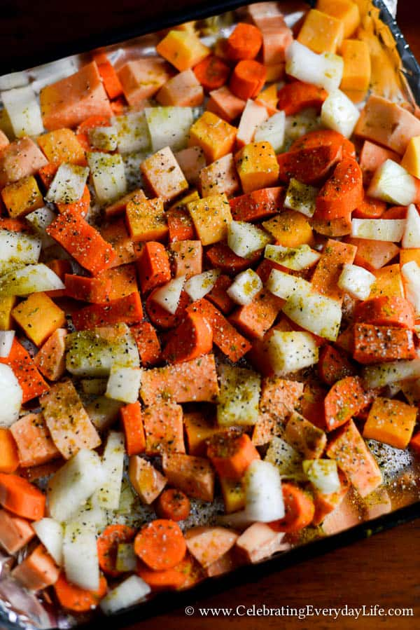 Roasted Root Vegetable Recipe, Curry Roasted Root Vegetable Recipe, Fall Side Dish Recipe, Tasy Fall Recipe, Autumn Dinner Recipe, Fall Dinner Recipe, Celebrating Everyday Life with Jennifer Carroll