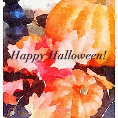 Happy Halloween Watercolor Printable Art