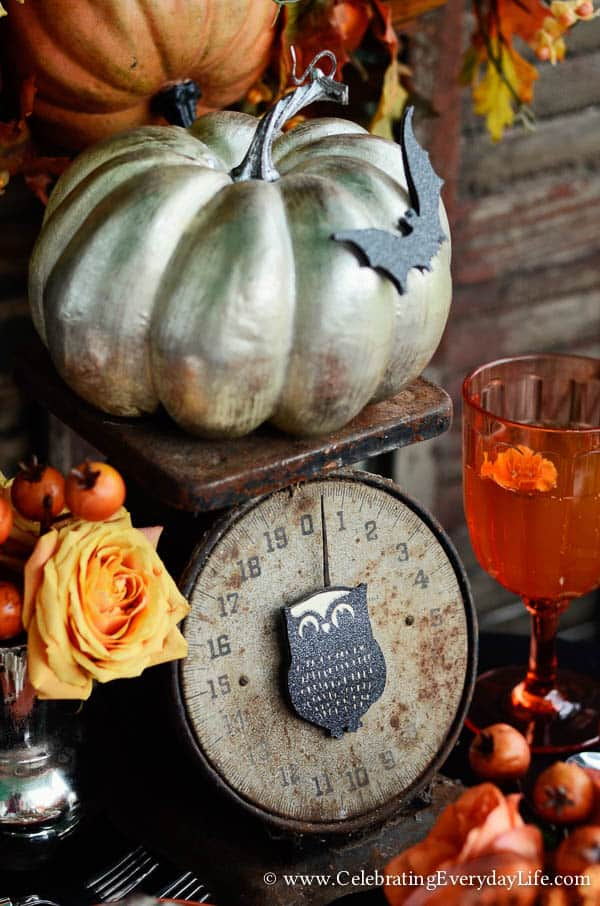 rustic Scale, Set a Halloween Table, Set a Romantic Halloween Table, Halloween table decor, halloween decor ideas, halloween porch party, Celebrating Everyday Life with Jennifer Carroll