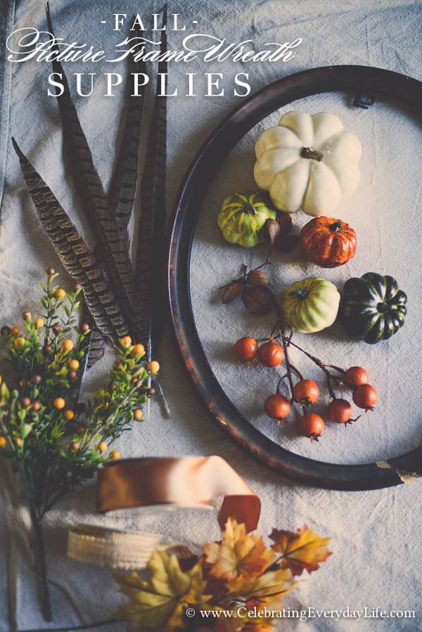 Supplies for Picture Frame Wreath Tutorial, How to make a picture frame wreath, Fall wreath ideas, Celebrating Everyday Life with Jennifer Carroll